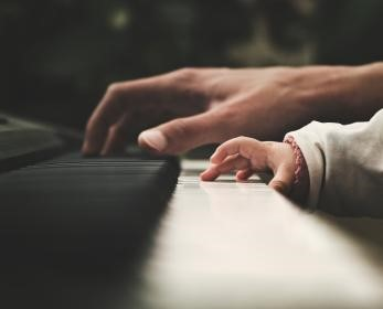 piano dad and baby